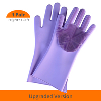 [Ulepszona wersja] silikonowe rękawice do sprzątania zmywacz do mycia naczyń wielokrotnego użytku do mycia naczyń szorowanie rękawice gąbkowe z włosiem w Rękawice do użytku domowego od Dom i ogród na