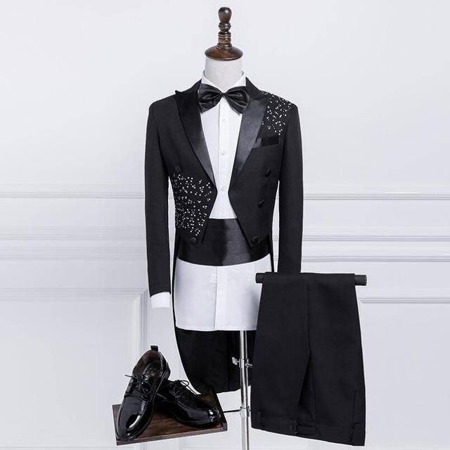 88d105370810e Men's Fashion Korean tuxedo Slim Blazers suits Men stage chorus costume Host  performing Black Bright diamond dress (suit+pants)