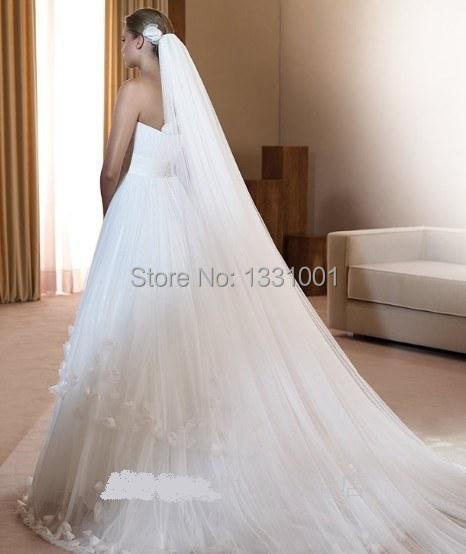 Veu De Noiva White Wedding Veil One Layer  Meters Long Wedding Accessories Bridal Veils For