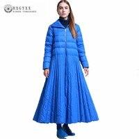 2018 модные Осенне зимнее пальто Для женщин Топы юбка Стиль длинные белые пуховая одежда элегантный пиджак синий плюс Размеры парка Feminino J086