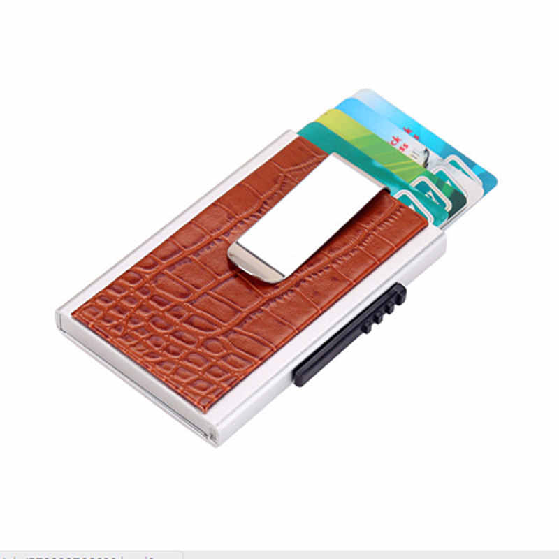 YAMBUTO 2020 cuero genuino Unisex tarjeta cartera cocodrilo Patrón nuevo aluminio tarjeta de crédito titular RFID bloqueo