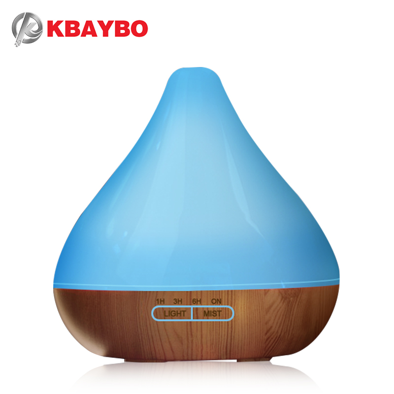 Essential Oil Diffuser Ultrasonic Humidifier 300ml Wood Grain Aroma Diffuser With Cool Mist And 7 Changing Colors LED Light