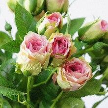 4 cabezas de flores artificiales Tallo largo decoración de la boda de seda Rosa Flores falsas ramas de plástico con hojas hogar Hotel Decoración