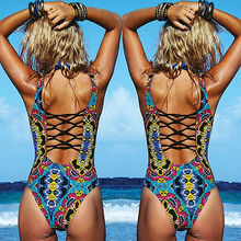 New Arrivals Summer Sexy Women Swimwear Green Tribal Print Swimsuit Swimwear Bathing Monokini Push Up Padded Bikin