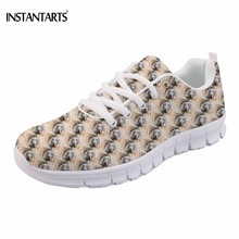 INSTANTARTS Brand Design Man Flats Shoes Funny Puppy Weimaraner Printing Lace up Sneakers Casual Loafer Breathable Men Footwear