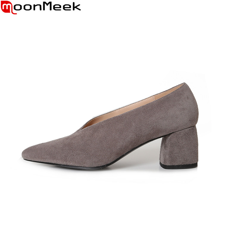 MoonMeek 2018 new arrive fashion pumps women shoes slip on pointed toe med square heel black gray brown color ladies shoes new 2017 fashion sexy low heel women s pumps purple flock slip on female square heel pumps ladies single shoes round black shoes