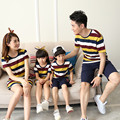 Family Matching Outfits Father Son Shortsleeve Tshirt Pants Sets and Mother Daughter Striped Dress Summer Family Look Clothing