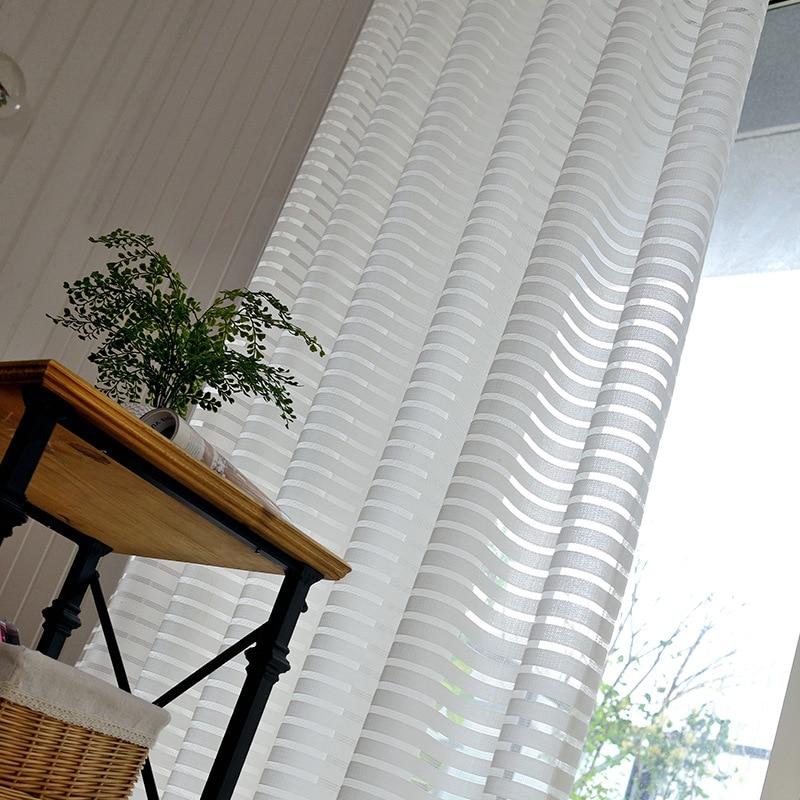Moderne gestreifte Tüll Vorhänge für Wohnzimmer Weiß Voile Kurze - Haustextilien - Foto 2