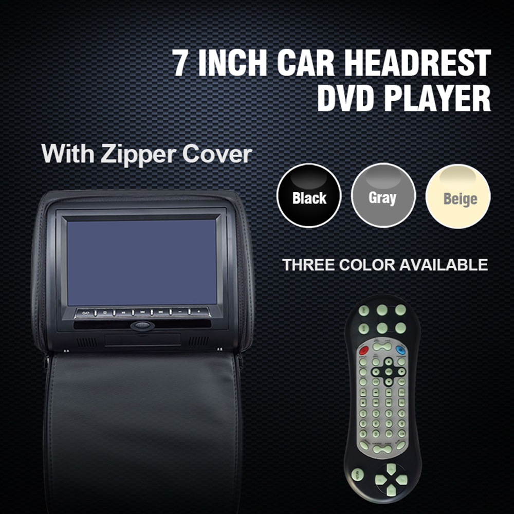 7 Inch Universal Car Headrest Monitor for Honda Toyota Automobile Headrest DVD Player with USB SD MP5 VCD CD MP3 MP4 JPEG (1 Pcs