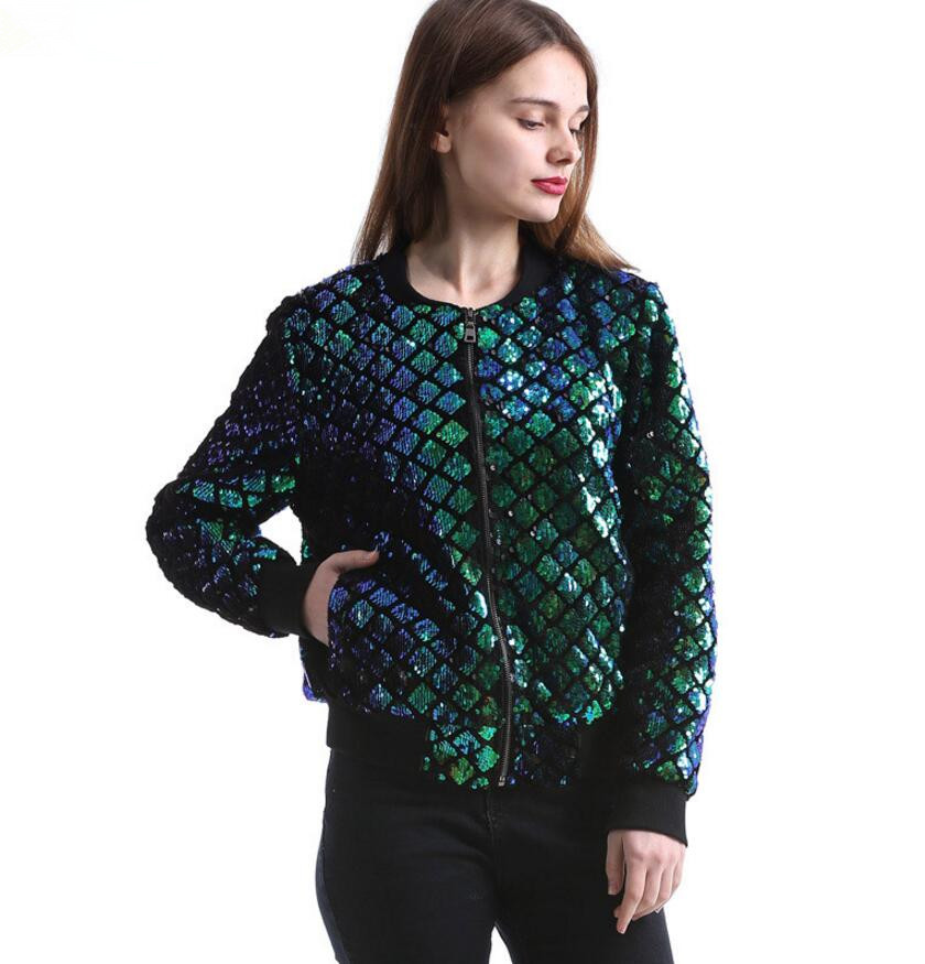 2018 new Autumn Sequin Coat Women Green Bomber   Jacket   Long Sleeve Zipper   Jacket   fashion Slim Casual   Basic     Jacket   r73
