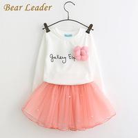 Bear Leader Girls Dress Autumn 2020 Girls Clothes Long Sleeves Cartoon Embroidery Female Children's Cake Dresses Kids Clothing