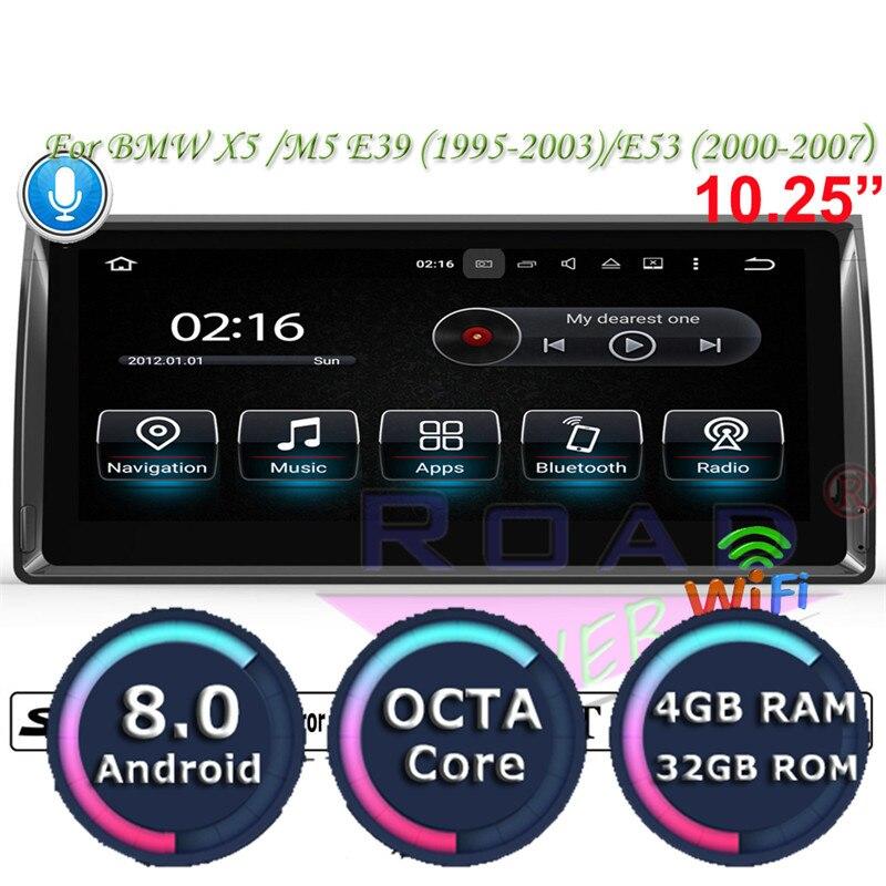 Roadlover Android 8.0 Voiture Lecteur Multimédia Pour BMW X5 M5 E39 1995-2003 E53 (2000-2007) stéréo GPS Navigation Radio 2 Din NO DVD