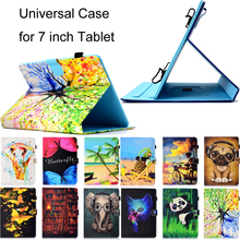Universal 7 Tablets Funda for inch Luxury Cartoon Print Leather Wallet Magnetic Flip Case Cover Coque Shell Full Skin Stand