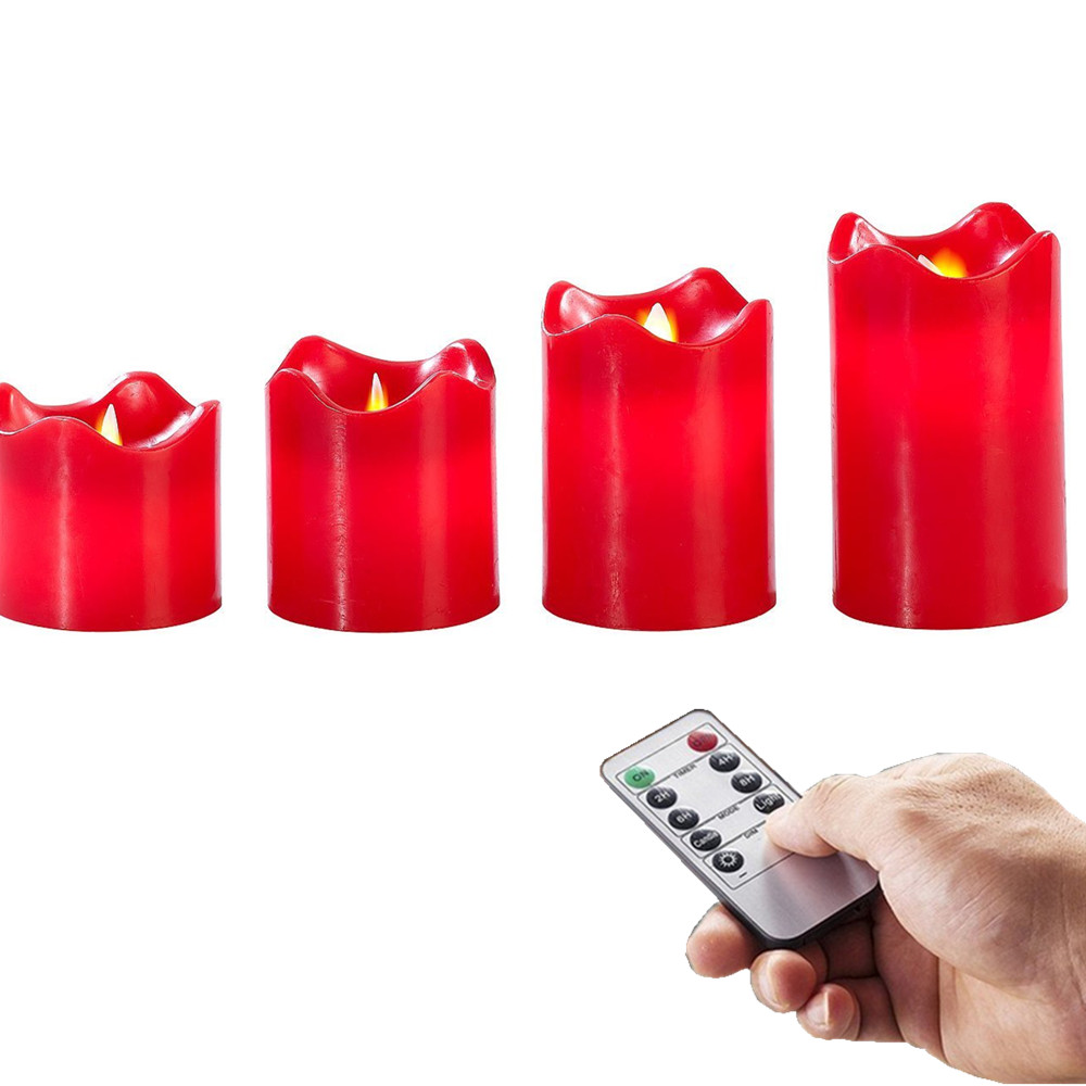 4pcs Remote Ready Flameless Candle Real Wax Flickering LED Votive Candle Moving Wick Dacning Red for Christmas & Home Decoration
