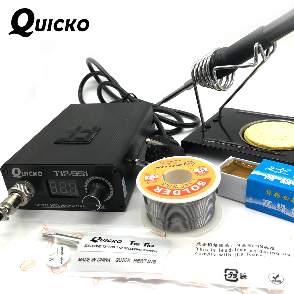 QUICKO 2018 New STC Digital Soldering Iron Station+T12 Handle+T12-K+BCM2+Iron Stand+Solder Core Wire+Carton Rosin+Sponge kits quicko t12 stc oled soldering station iron diy parts kits t12 952 digital temperature controller soldering iron with meatal case