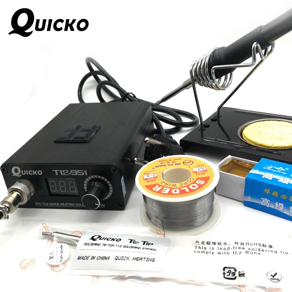 QUICKO 2018 Nuovo STC Digitale Stazione di Saldatura di Ferro + T12 Maniglia + T12-K + BCM2 + Ferro Basamento Saldatura + Saldatura Filo del nucleo + Carton Colofonia + Spugna kit