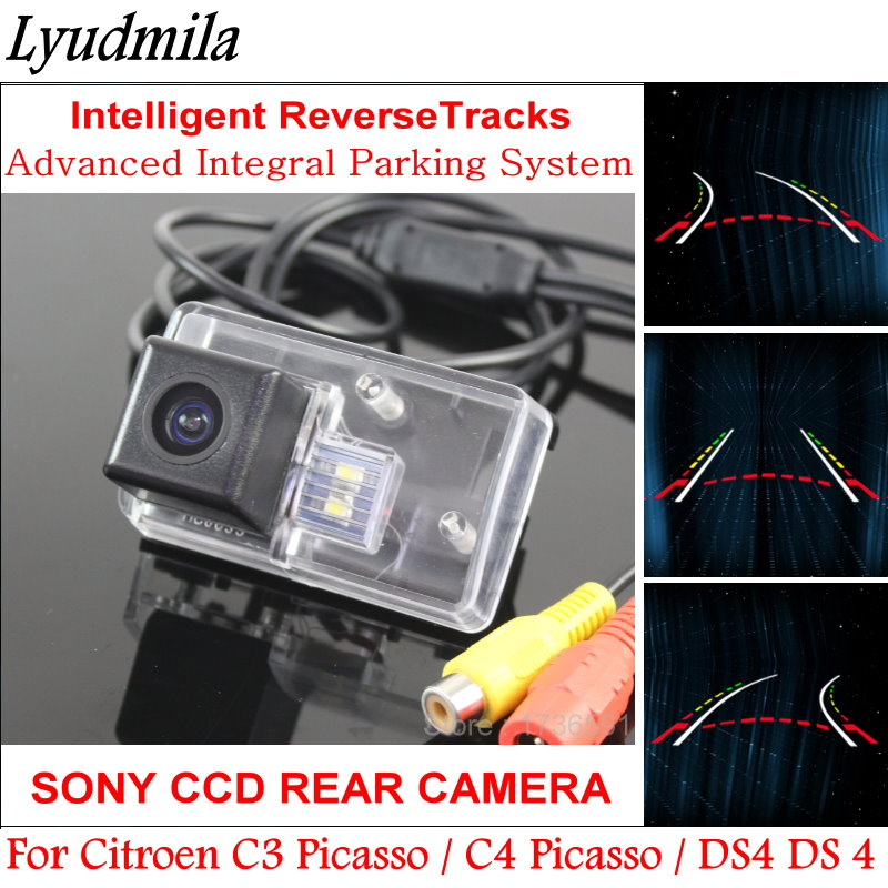 Lyudmila FOR Citroen C3 Picasso / C4 Picasso / DS4 DS 4 Car Dynamic Trajectory Backup Rear View Camera Variable Parking Lines