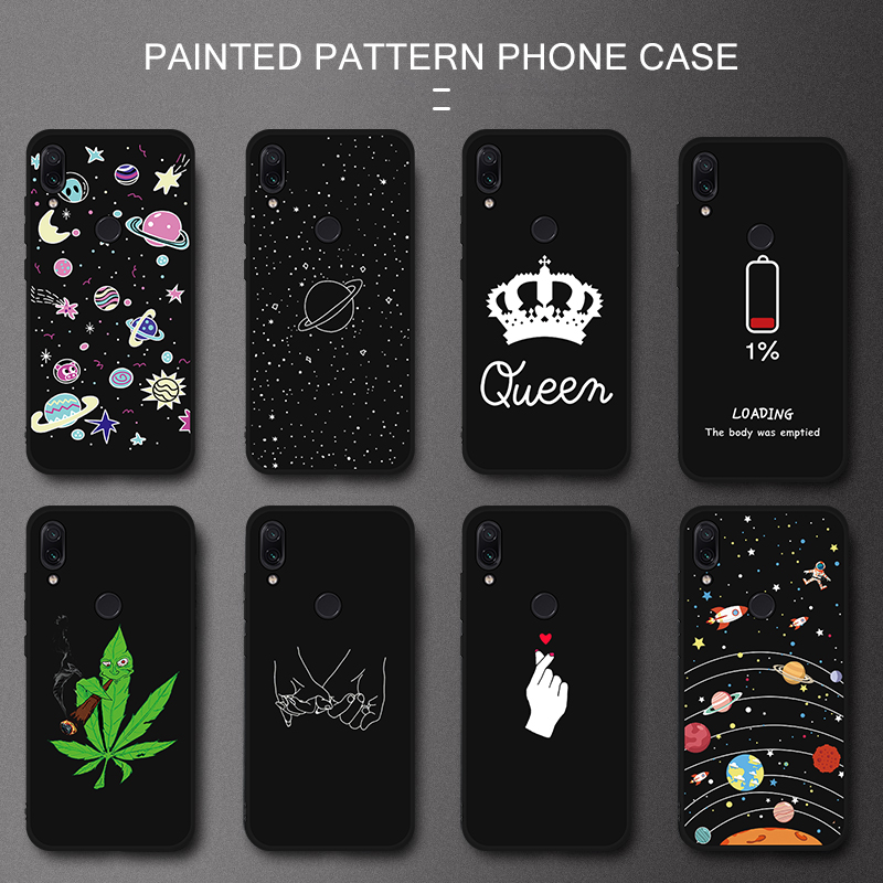 TPU Patterned Case Silicone Couple Cover For Xiaomi Redmi 7 Note 7 5 6 Pro 6A 5 Plus 5A S2 Pocophone F1 Shell Coque Phone Case