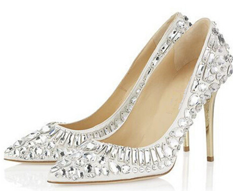 Elegant Bling Bling Pumps Women Fashion Dress Shoes High Heels Luxury Crystal Beaded Glitter Bridal Wedding Shoes Pumps bling bling crystal flower thin high shoes glittering wedding banquet pumps princess glass slipper
