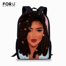 FORUDESIGNS African Backpack Cartoon Black Girls Print School Bag Kids Cute Book Teenager Schoolbags Mochila