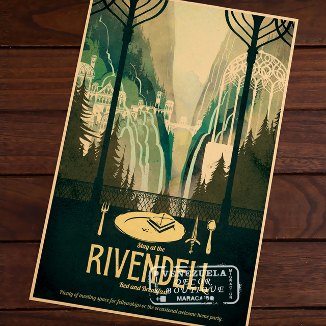 Rivendell Travel Propaganda Vintage Kraft Decorative Poster