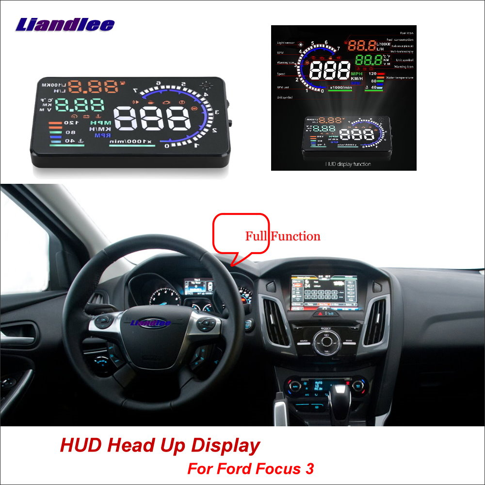 Liandlee Car HUD Head Up Display For Ford Focus 3 2012-2018 Digital Speedometer Fuel Consumption Projector Screen Detector