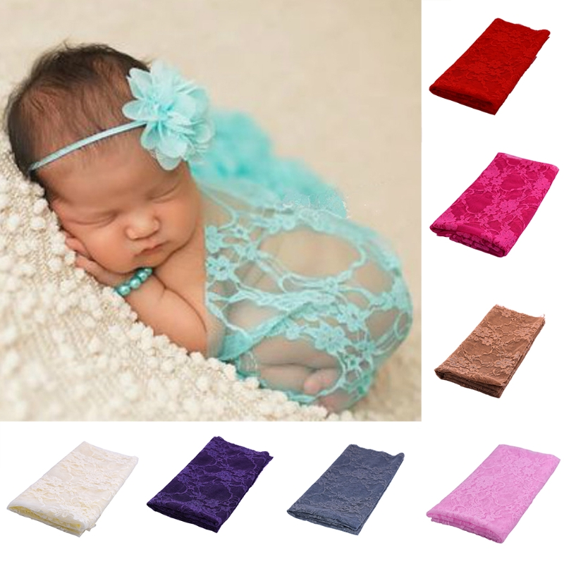 Newborn Baby Boy Girl Stretch Wrap Embroidery Lace Photography Props Blanket Rug