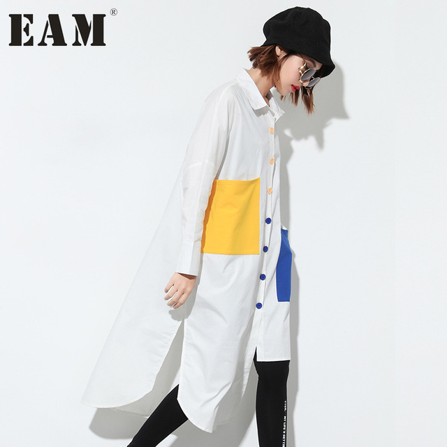 [EAM] 2018 Autumn New Korean Women's Pocket Hit Color White Shirt Loose Fashion Style Large Size Patchwoork Tops T04600