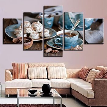 Canvas Pictures Home Decor Modular HD Prints 5 Pieces Coffee Cup Paintings Fine Afternoon Tea Poster Kitchen Wall Art Framework