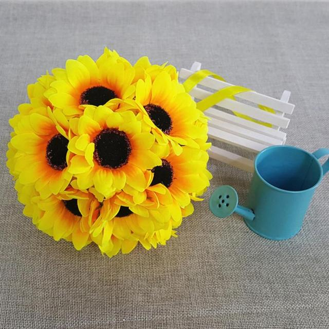 4 boyutu Yapay Ayçiçeği Öpüşme Topu Buket Düğün Töreni Centerpiece Süslemeleri Fotoğraf Sahne Kurutulmuş Çiçekler