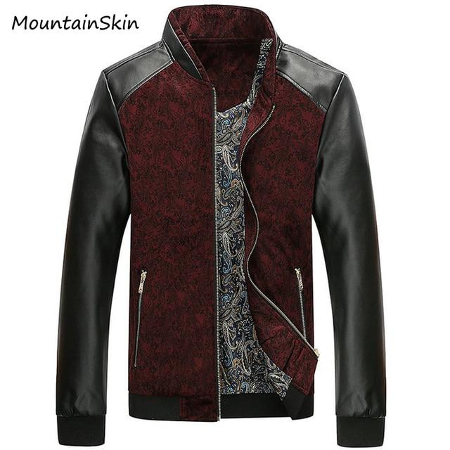 Mountainskin 4XL Men's PU Leather Jacket Casual Spring Autumn Branded Clothing Fashion Male Bomber Jackets Men Coats LA154