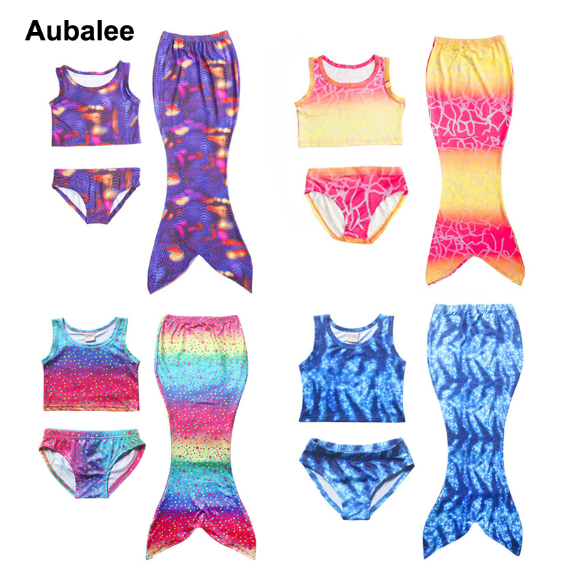 3PCS Swimming Suit Mermaid Tail Costume Kid Mermaid Tails For Child Swimmable Bikini Bathing Girl Swimwear Dress Without Monofin