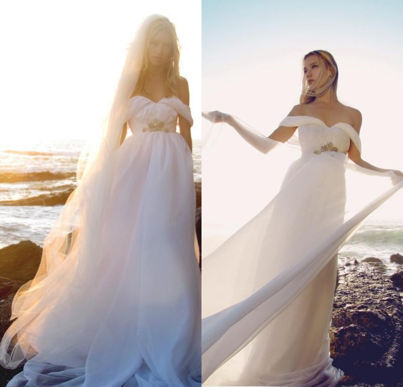 2015 Flowing Chiffon Wedding Dress Summer Off Shoulder Beach Bridal