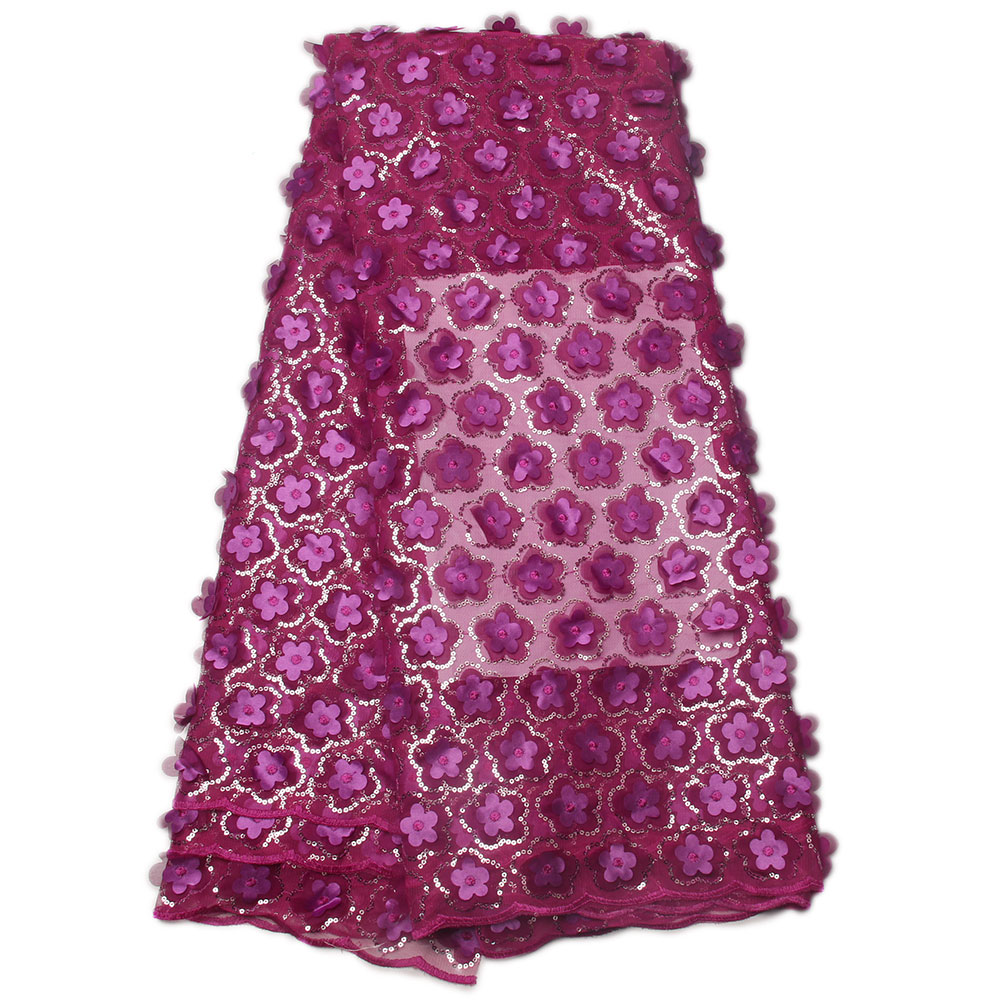 2017 African Lace Fabric High Quality African 3D Lace Fabric Purple For Nigerian Wedding Dress French