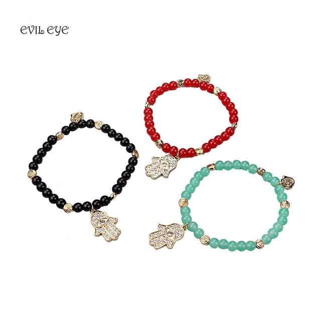 2017 Fashion Hand Bracelet Evil Eye Hamsa Black Green Red Bead
