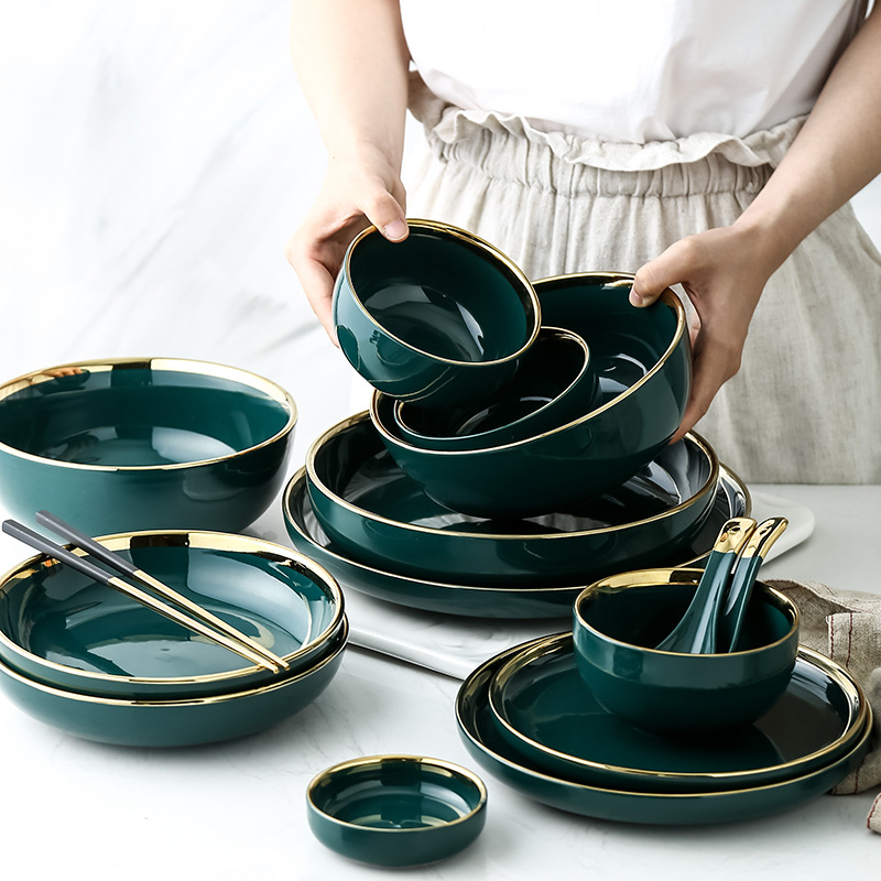 Green Ceramic Gold Inlay Plates And Bowls