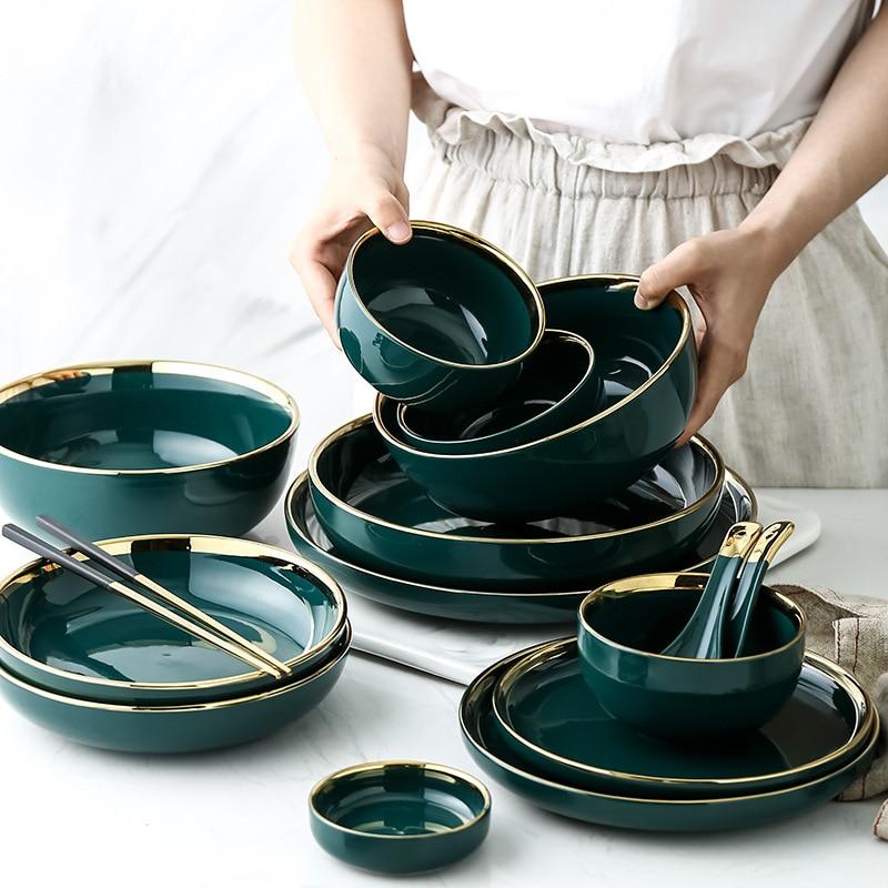 Green Ceramic Gold Inlay Plates And Bowls