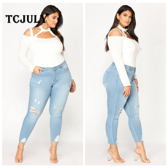 Vintage Cotton Ripped Elegant Women Denim Jeans Plus Size 2XL-7XL Stretch Skinny Push Up Casual Pencil Pants