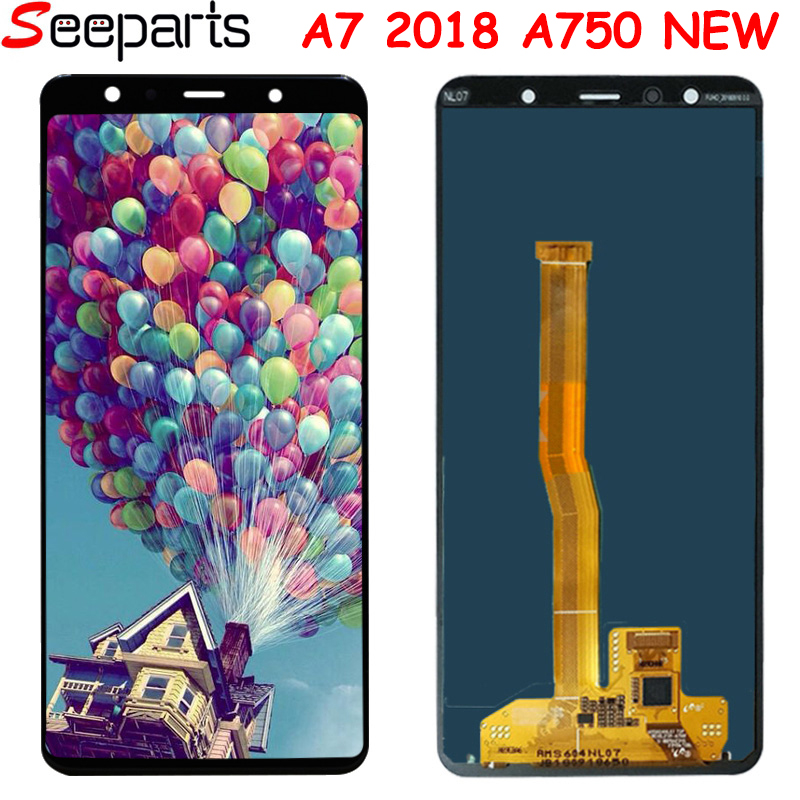 For <font><b>Samsung</b></font> Galaxy <font><b>A7</b></font> 2018 SM-A750F A750F A750 <font><b>LCD</b></font> with frame Display Touch Screen Digitizer Assembly Replace 100% Test A750 <font><b>lcd</b></font> image