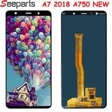 Samsung Galaxy A7 2018 SM A750F A750F A750 çerçeve ile LCD ekran dokunmatik ekranlı sayısallaştırıcı grup yerine 100% Test A750 lcd