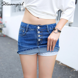 Image 2 - Streamgirl Denim Mini Saia Com Botões Frente Sexy Short Bandage Saia Bordado Com Shorts Jeans Mulheres Micro Mini Saias