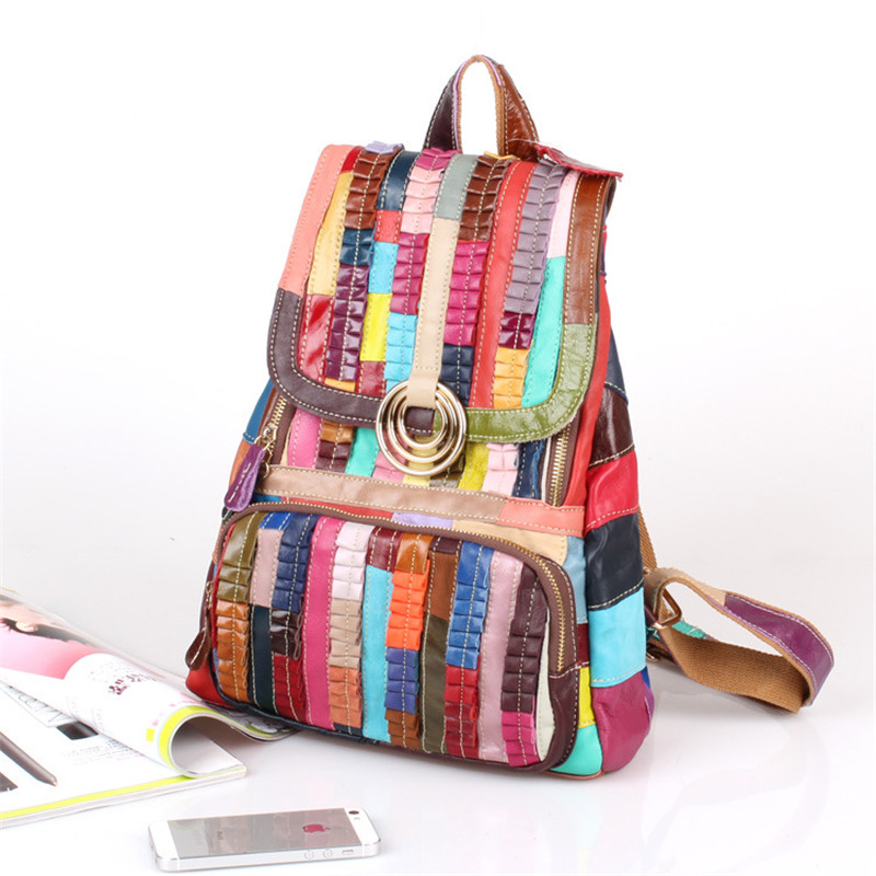Caerlif New Colorful footprints Women bag Genuine leather bags for Teenage Girls School Student Travel Shoulder Bag stripe bag caerlif brand genuine leather bag colorful stripe weave vintage national wind shoulder bags female bag women messenger bags