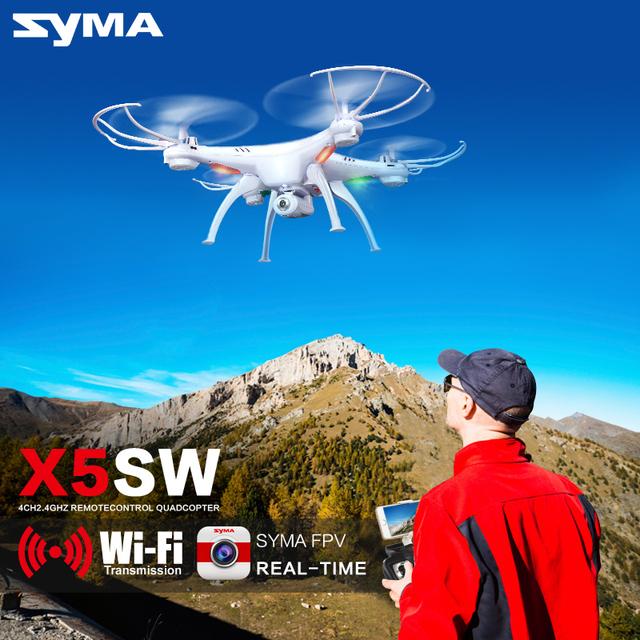 Syma x5sw fpv quadcopter com câmera zangão wi-fi em tempo real sem cabeça dron/x5hw rc helicóptero quadrocopter kids toys