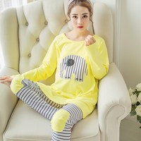 2pcs Set Fashion Maternity Clothes Cartoon Maternity Sleepwear Breastfeeding Sleepwear Nursing Pajamas For Pregnant Women