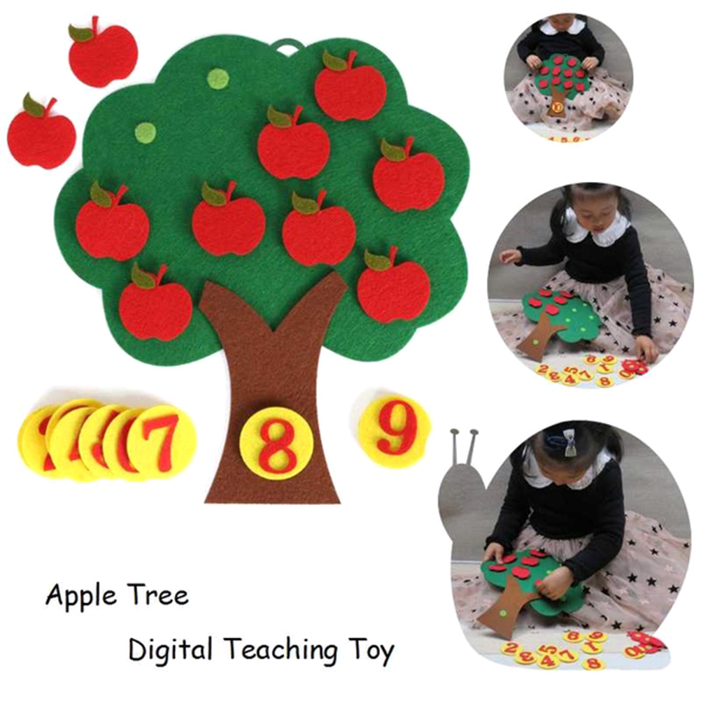 Apple Tree Match Digital Teaching Toy Non-Woven Puzzle Creative  Educational Toy Kindergarten Kids Math Toy  Child Toys