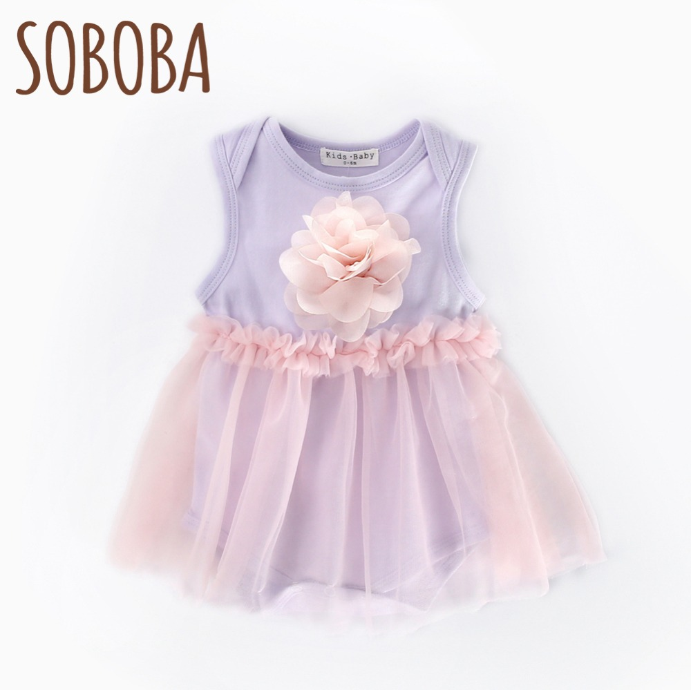 Soboba Lavender Mesh Sleeveless Summer One-piece Infant Bodysuit Cute Cotton Tulle Flower O-neck New Born Baby Girl Clothes