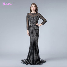 Black Full Sleeve Evening Dress Long Mermaid YQLNNE