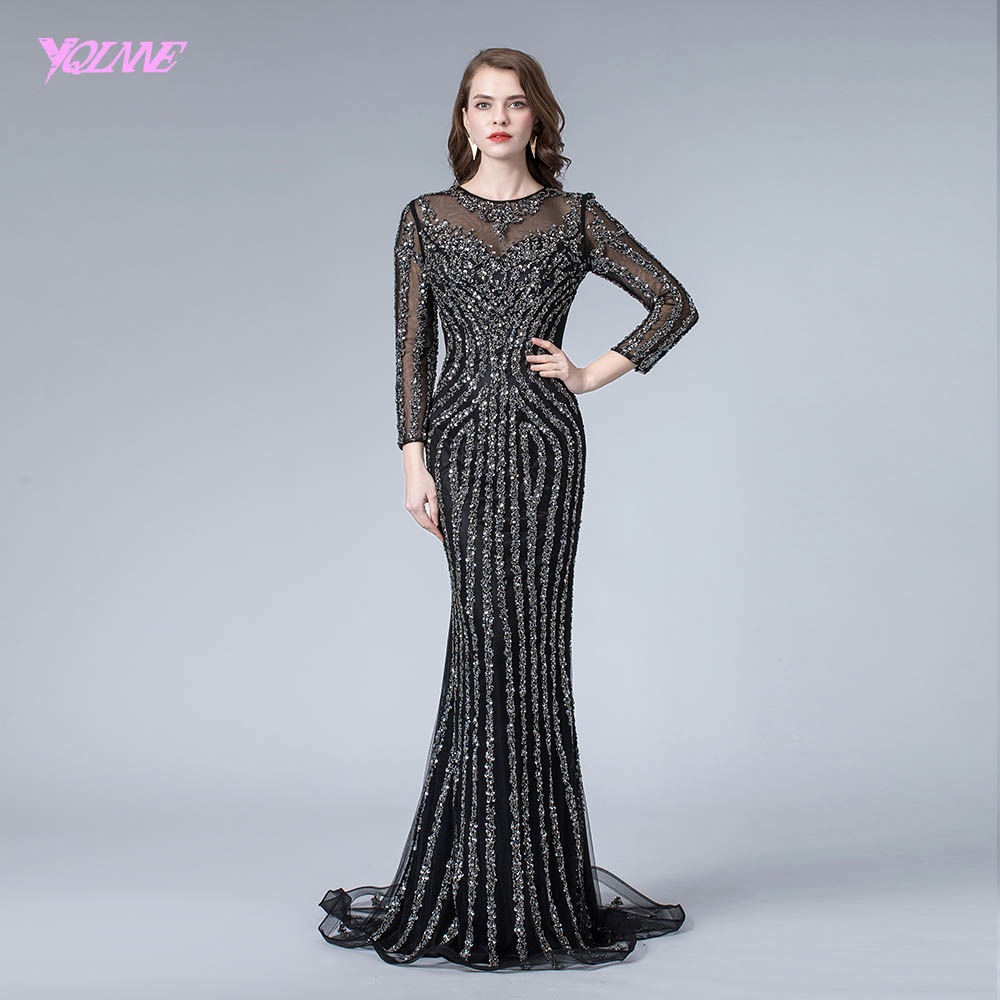 Black Full Sleeve Evening Dress Long Crystals Beaded Mermaid Dresses Formal Evening Gowns YQLNNE