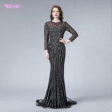 Negro completo vestido de noche manga larga cuentas cristales sirena vestido formal de Noche Vestidos YQLNNE