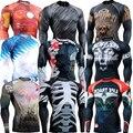 Full Print Manga Larga Lycra Gráfico Completa Camisas de Compresión de usos Múltiples MMA Fitness GYM Atlético Tops Camisas de Los Hombres de Los Trajes